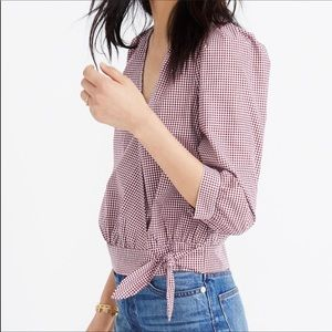 Madewell Gingham L/S Wrap 3/4 Sleeve Top NWT